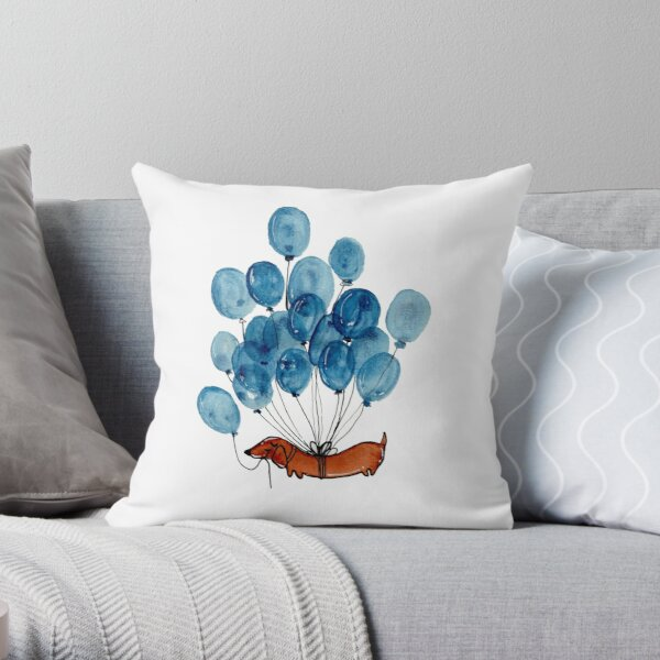 Dachshund dog and balloons Throw Pillow