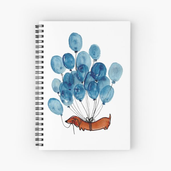 Dachshund dog and balloons Spiral Notebook