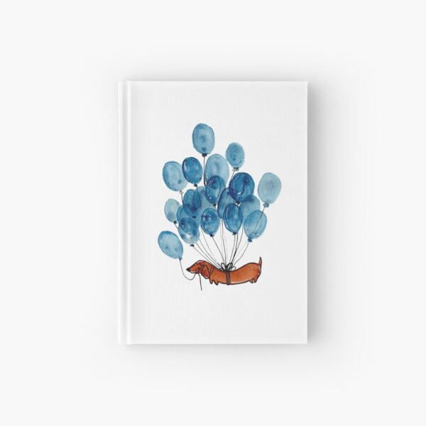 Dachshund dog and balloons Hardcover Journal