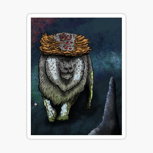 The Howling Caverns - Stone Lion in Cave Sticker