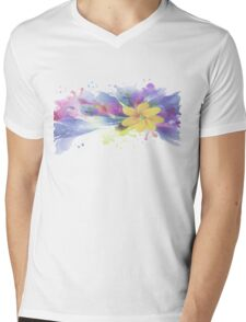 Yellow Lily in A Watercolor Garden Mens V-Neck T-Shirt