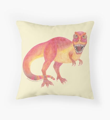 Tyrannosaurus Rex Dinosaur Quirky Colorful Prehistoric Cartoon Throw Pillow