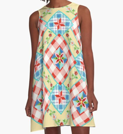 Cottage Chic Gingham Patchwork A-Line Dress