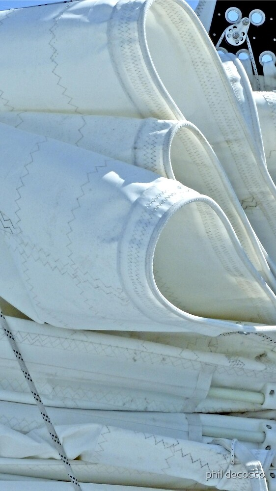 Flaking The Mainsail Over The Boom by phil decocco