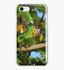 Green Parrot Eating Flowers iPhone Case/Skin