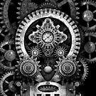 Infernal Steampunk Vintage Machine #2B Monochrome Version by Steve Crompton