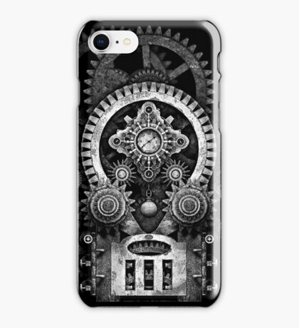 Infernal Steampunk Vintage Machine #2B Monochrome Version iPhone Case/Skin