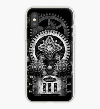 Infernal Steampunk Vintage Machine #2B Monochrome Version iPhone Case