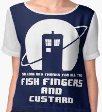 Fish Fingers and Custard White Chiffon Top