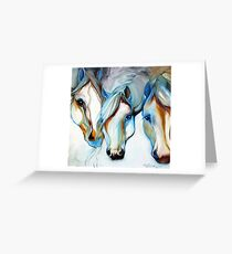 THREE WILD HORSES IN ABSTRACT by Marcia Baldwin Greeting Card
