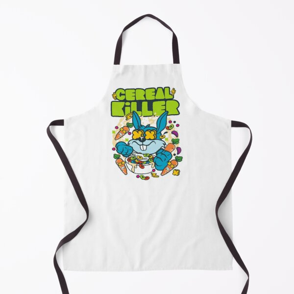 Cereal Killer - Colorfully Illustrated Bunny Rabbit with Crazy Carrots Eating Cereal - Funny Apron