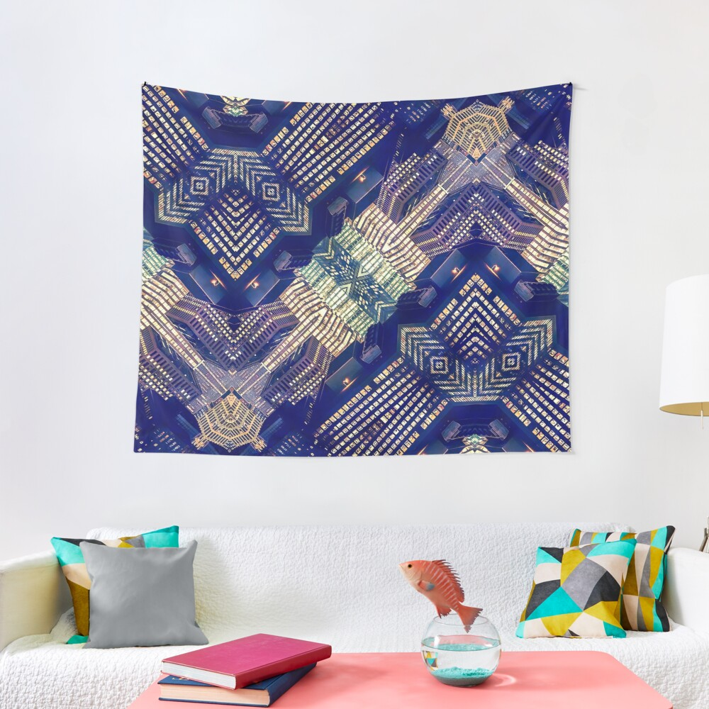 Lighted City Structures Tapestry