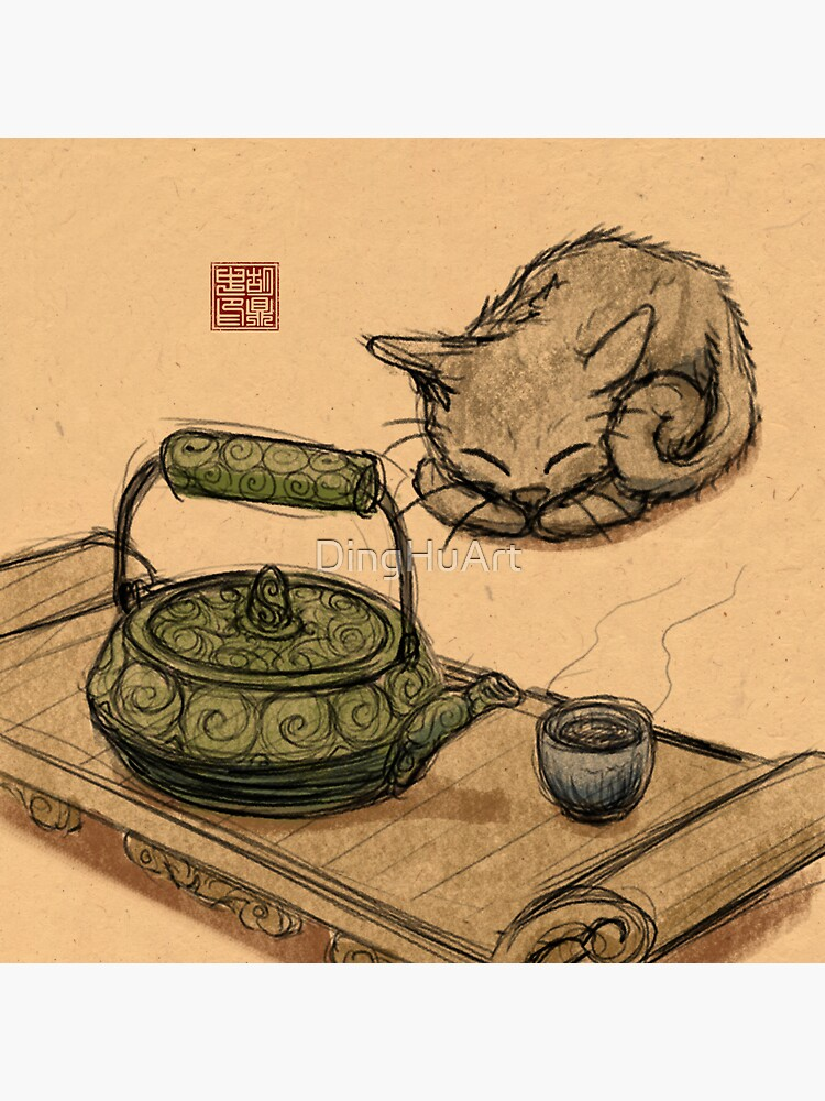 Tea Time Kitten by DingHuArt