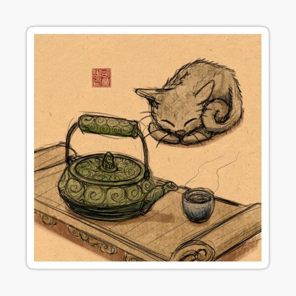 Tea Time Kitten Sticker