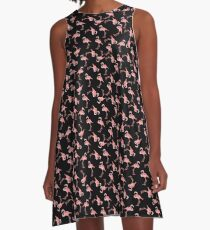 Pink Flamingos on Black Background A-Line Dress