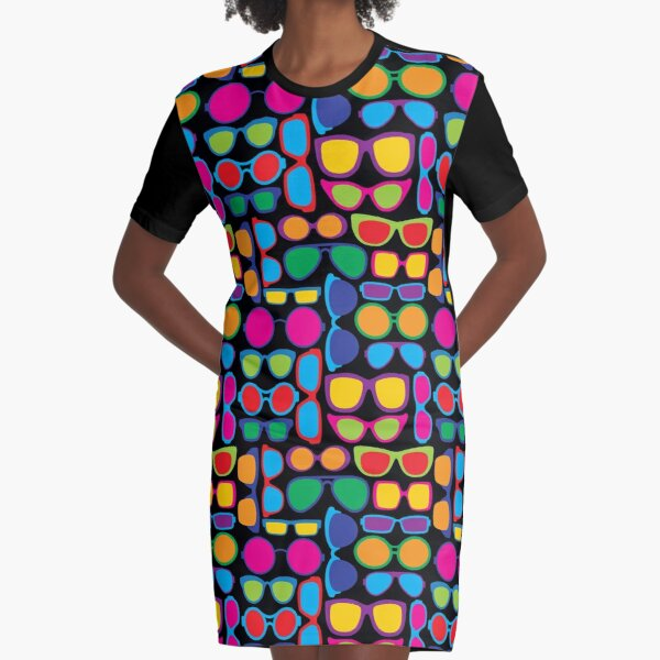 Eyeglasses Pattern Graphic T-Shirt Dress