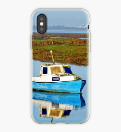 Boat at sea, Gower in Wales iPhone Case