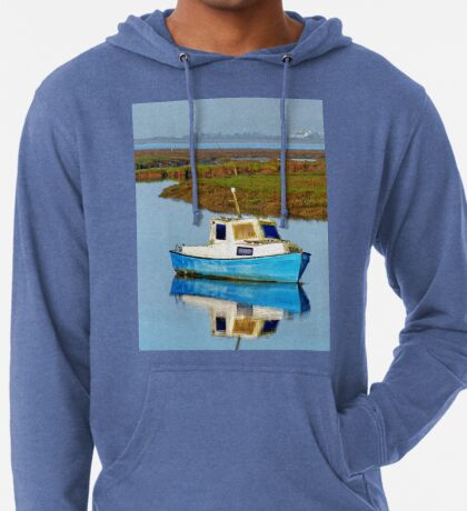 Boat at sea, Gower in Wales Lightweight Hoodie