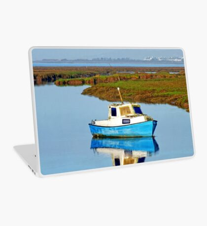 Boat at sea, Gower in Wales Laptop Skin