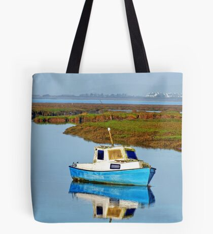 Boat at sea, Gower in Wales Tote Bag