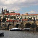 Prague Caste and Charles Bridge by Elena Skvortsova