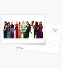 Frauen von Thron aus Glas Postkarten