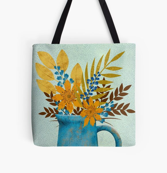 Autumn Blues Floral All Over Print Tote Bag