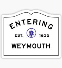 Entering Weymouth - Commonwealth of Massachusetts Road Sign Sticker