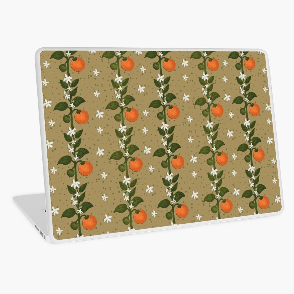 Tangerine Flowers Paper Laptop Skin