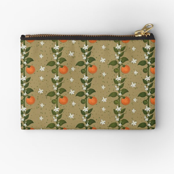 Tangerine Flowers Paper Zipper Pouch