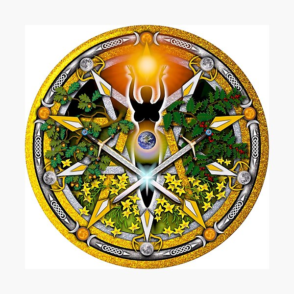 Sabbat Pentacle for Litha, the Summer Solstice Photographic Print