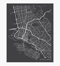 Oakland Map, USA - Gray Photographic Print