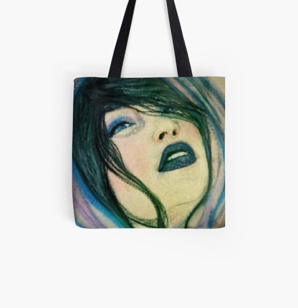 Blue Babushka All Over Print Tote Bag