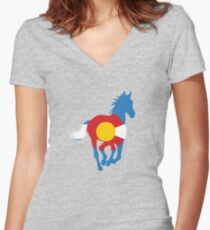 Colorado Wild Horses: Colorado Hometown Series Women's Fitted V-Neck T-Shirt