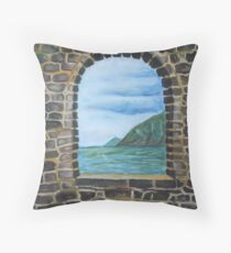 Oil Painting - A Window at Grotta di Byron. 2011 Throw Pillow