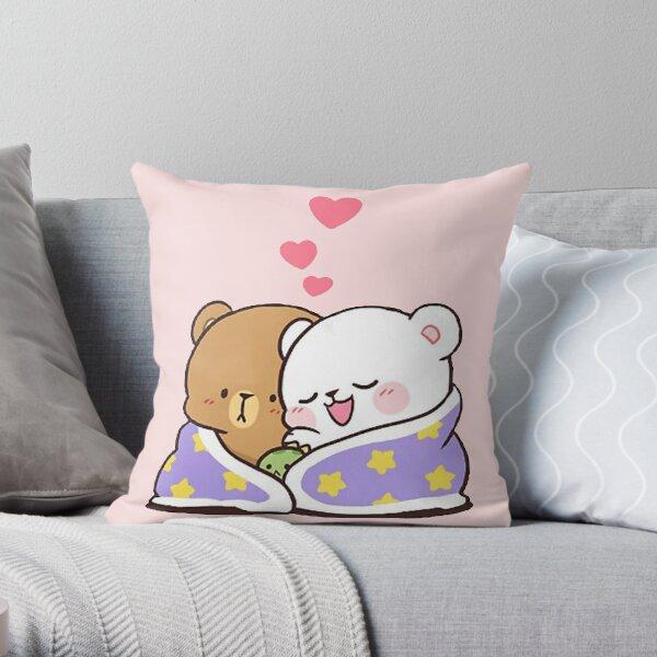 cute milk peach bears Throw Pillow