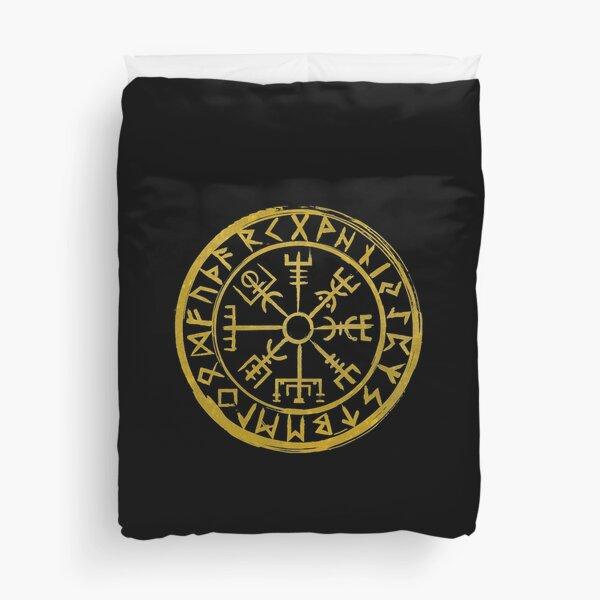 Vegvísir Viking Compass - Vintage Gold Duvet Cover