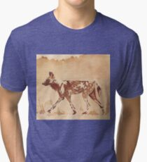 Painted Dog - African Wild Dog Tri-blend T-Shirt