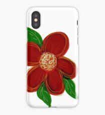 Burgundy Red Flower Print iPhone Case