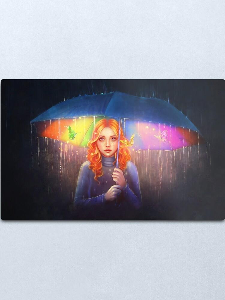 Alternate view of Rainbow Rain Metal Print