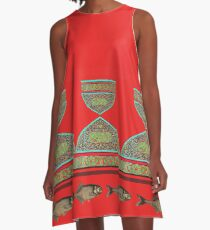 cups and fish on red A-Line Dress