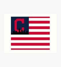 Cleveland Indians American Flag Art Print
