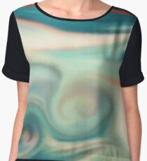 Digital painted texture retro pastel background. Abstract beautiful illustration, color, silk, liquid print. Women's Chiffon Top