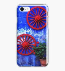 Geranium and red wheels on the blue wall iPhone Case/Skin