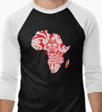 Africa map pattern With Africa Mask Africa t-shirt Men's Baseball ¾ T-Shirt