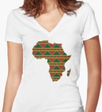 Africa map pattern Africa t-shirt Women's Fitted V-Neck T-Shirt