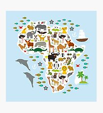 African animal map and ocean Photographic Print