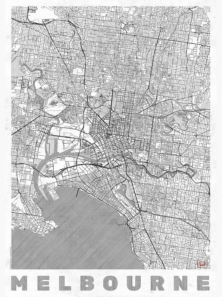 Melbourne Map Line by HubertRoguski