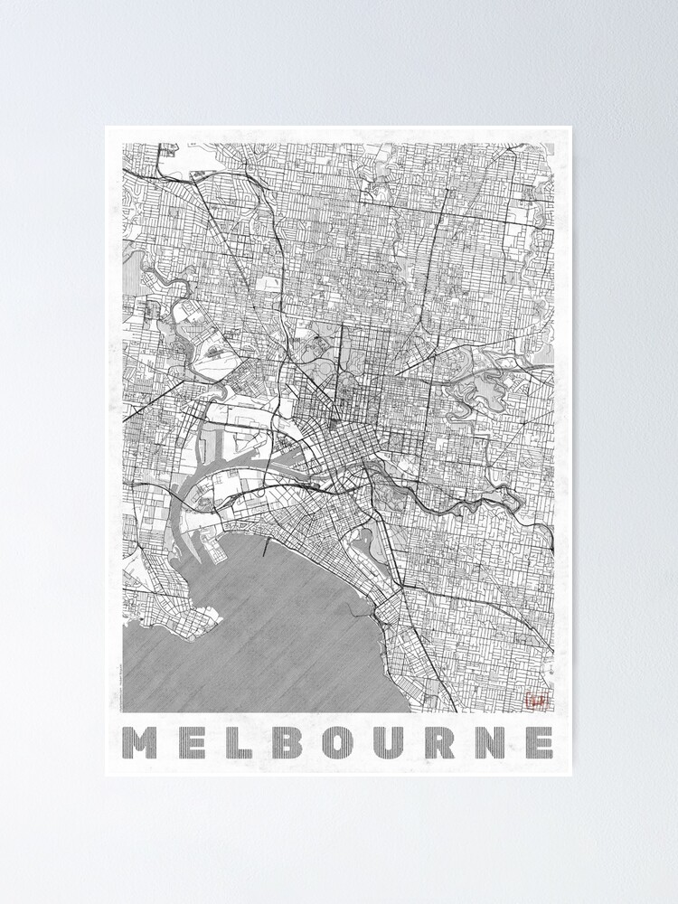 Alternate view of Melbourne Map Line Poster