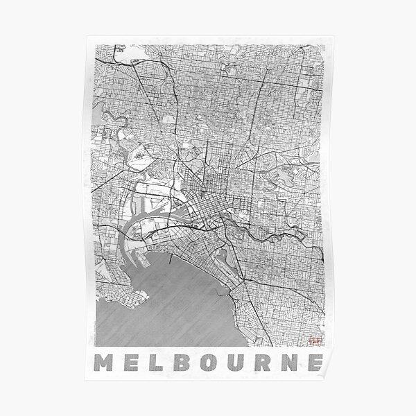 Melbourne Map Line Poster